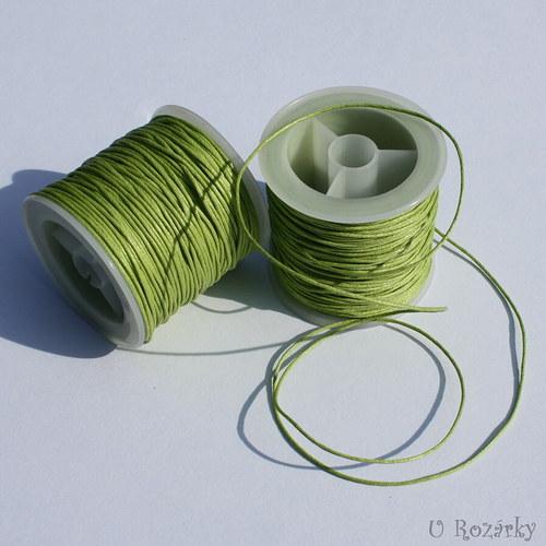 Bavln. vosk. šňůrka 1 mm, zelená - cena za 3 m!
