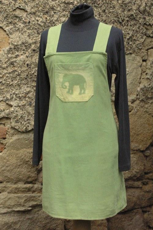 Sukně zelená s laclem - slon