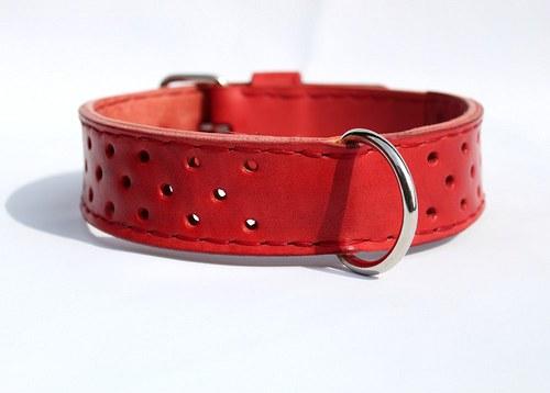 Kožený dvouvrstvý obojek, ručně šitý,4 cm