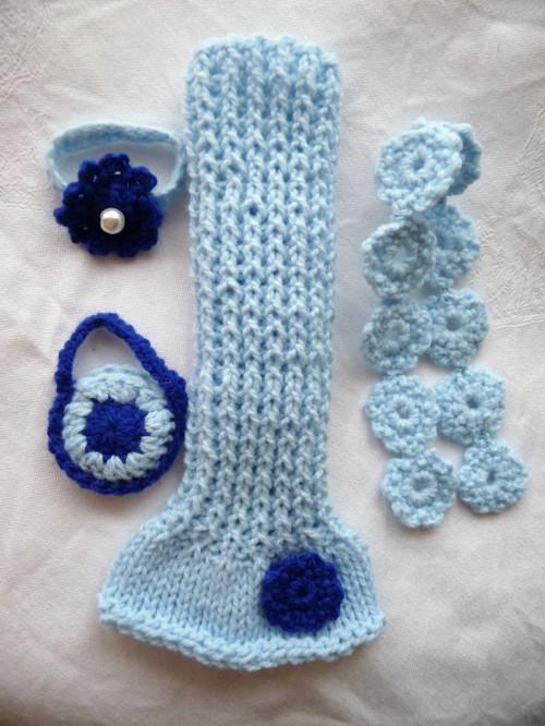 Sada-modré šaty+pléd+taška+čelenka