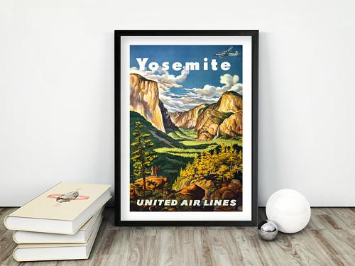 Vintage plakát Yosemite UAL