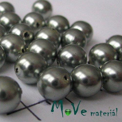 České voskové perle šedé 8mm, 20g (cca 30ks)