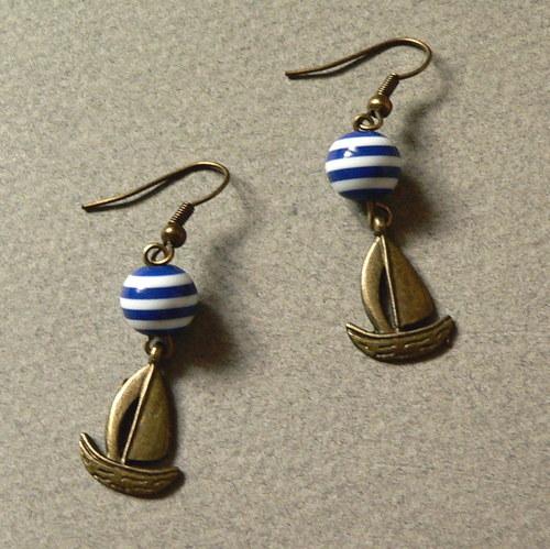 Námořnické náušnice modré