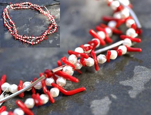 Korálový náhrdelník s perličkami N0070R