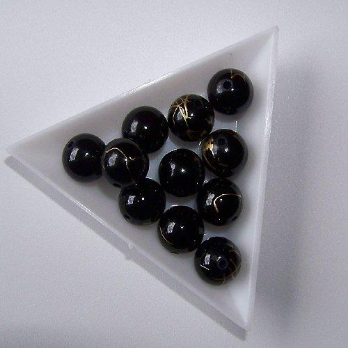 akrylové korálky, žíhané / 12mm/ černé / 6ks
