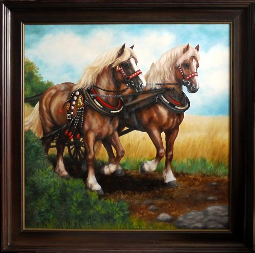 Koně - selský povoz, olejomalba
