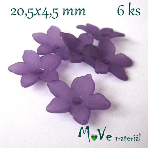 Akrylový květ - transparentní 20,5mm, 6ks, fialový
