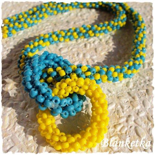 Modrožlutá variace...náhrdelník