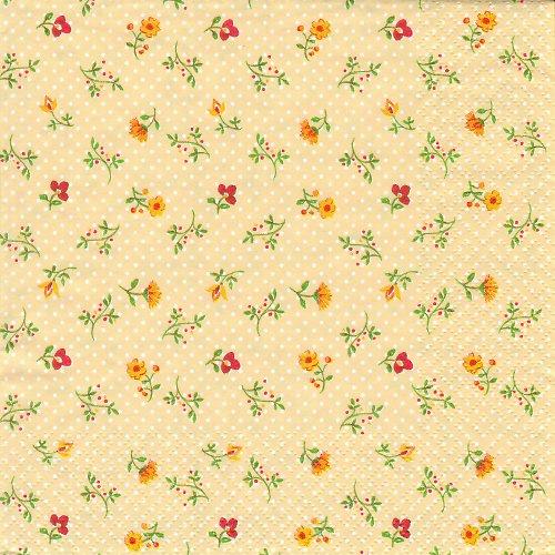 Ubrousek vintage květiny na žluté