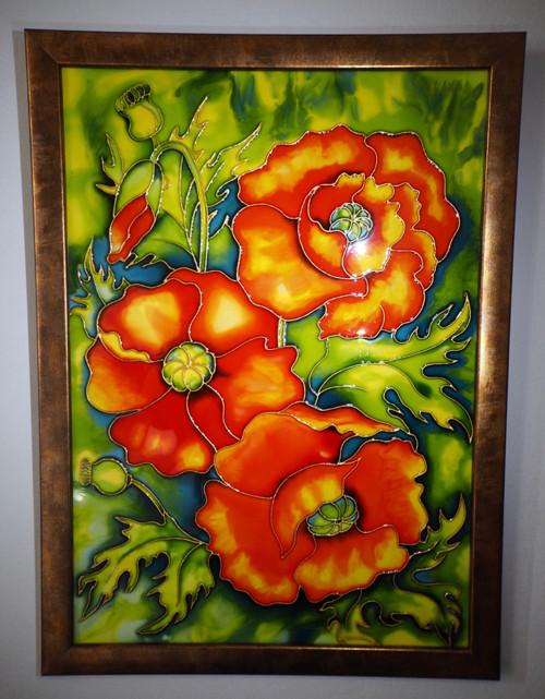 Okrasné máky - malba na skle 30х42 см
