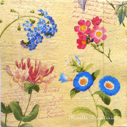 Květiny modré, růžové - ubrousek velký