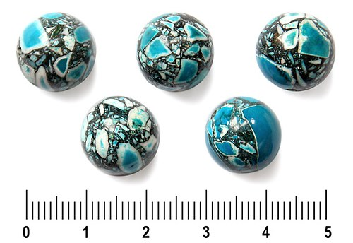 Azurová zlomková kulička, 12 mm, 3 ks