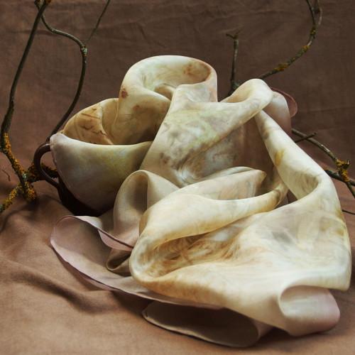 Ořech na víně - hedvábný šátek S19 - eco print