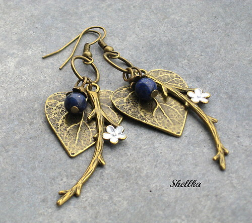Náušnice listy s lapis lazuli