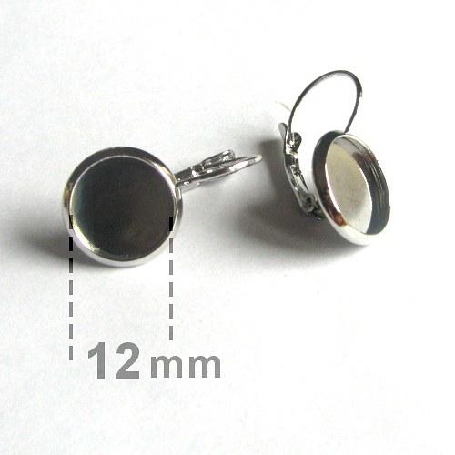 Náušnice s lůžkem 12mm - II. jakost - 2 páry