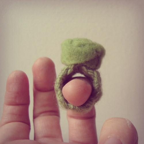 Zelený flísový prsten