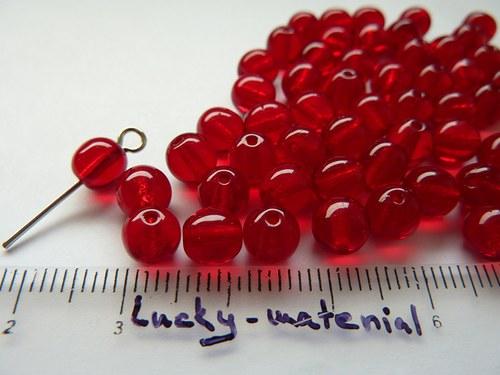 Červené průsvitné kuličky 6 mm ...... 50 ks