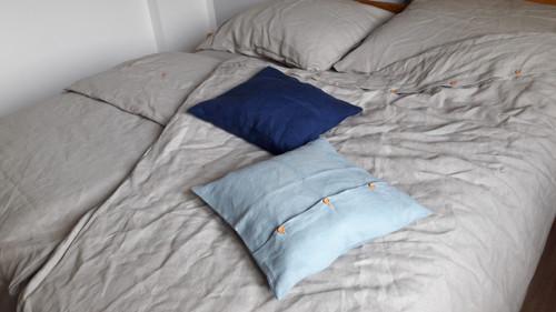 Lněný polštářek E-len - modrá barva