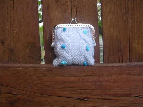 Pletená peněženka světle modrá s tyrkysem