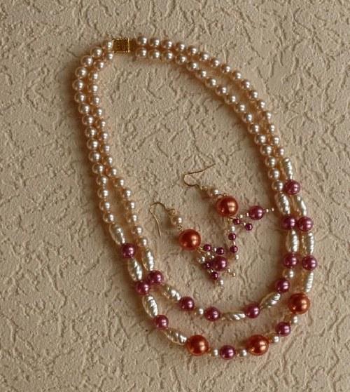 perlový set - náhrdelník + náušnice