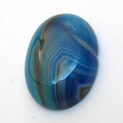 Kabošon modrý pruhovaný achát ovál 25mm