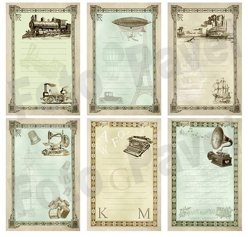 Vintage kartičky (journaling) - stroje