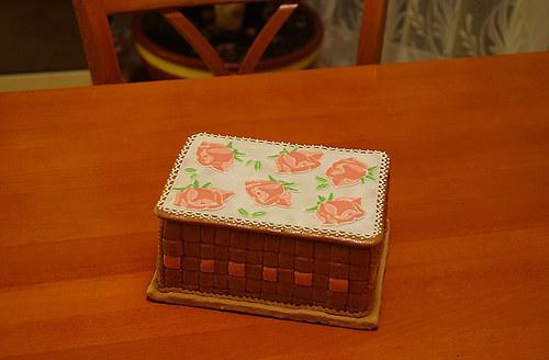 Nádherný dekorativní perníkový košíček na šití