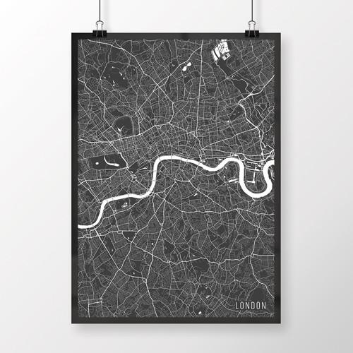LONDÝN, 50x70cm, minimalistický, tmavě šedý