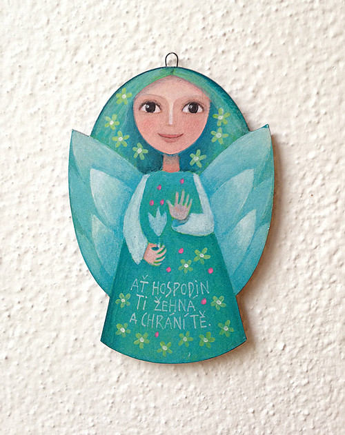 Malovaný andílek širší (modrý)