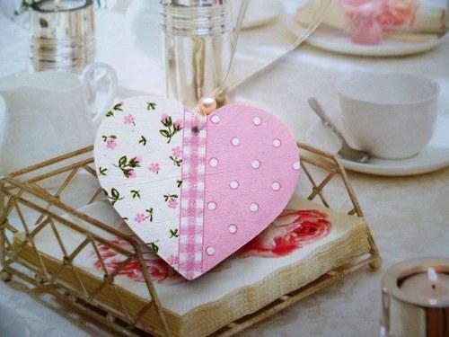 srdíčko - romantické - růžovo - bílé