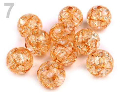 Plastové korálky kraklované Ø12mm (10ks) - oranž