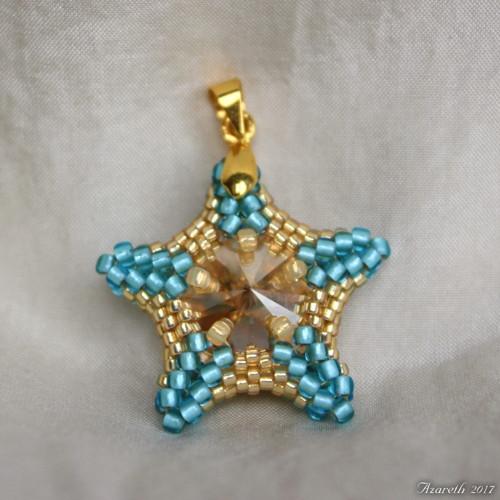 Vánoční přívěsek  zlato-modrá hvězda