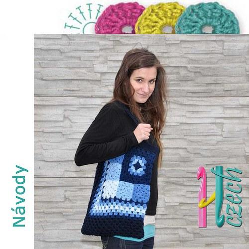 Háčkovaná taška ala patchwork modrá