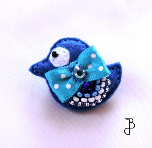 Ptáček modrý s mašlí