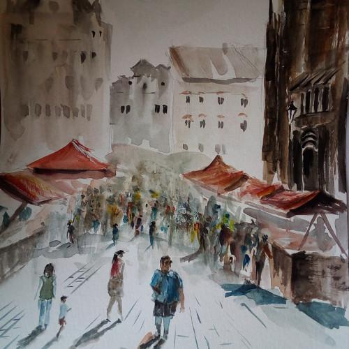 Farmářské trhy v Plzni  akvarel