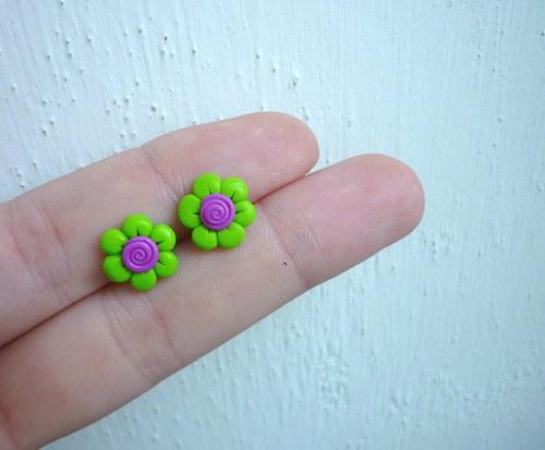 Drobné květinky - Zelená & fialová