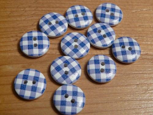Knoflíky kostkované / 2 ks modré