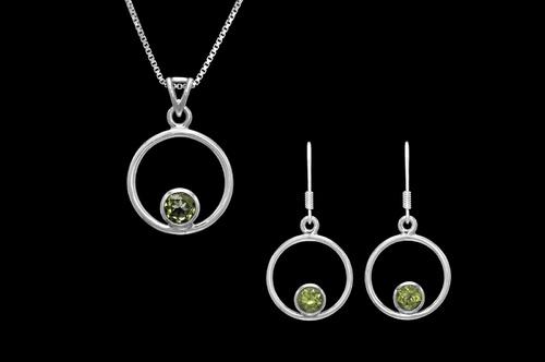 Stříbrný set s olivíny
