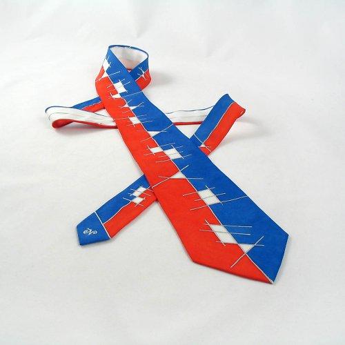 Červeno-modro-bílá hedvábná kravata s čárami