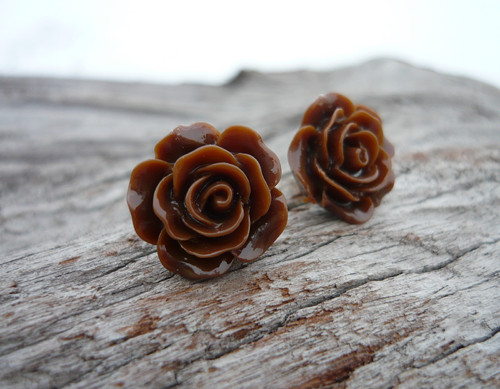 Náušnice Růžičky Čokoládové napichovačky