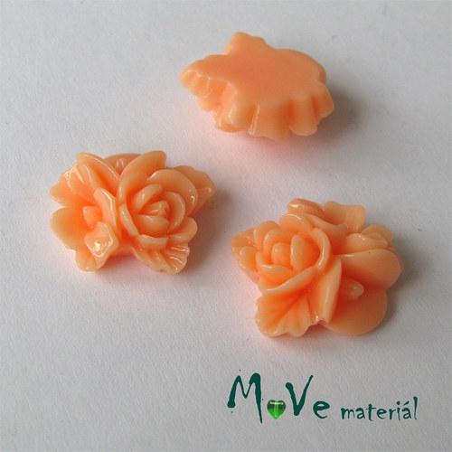 Kabošon květy lesklý A8 - resin - 2ks, lososový