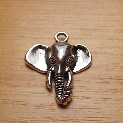 Slon - starostříbro - 26mm x 22mm