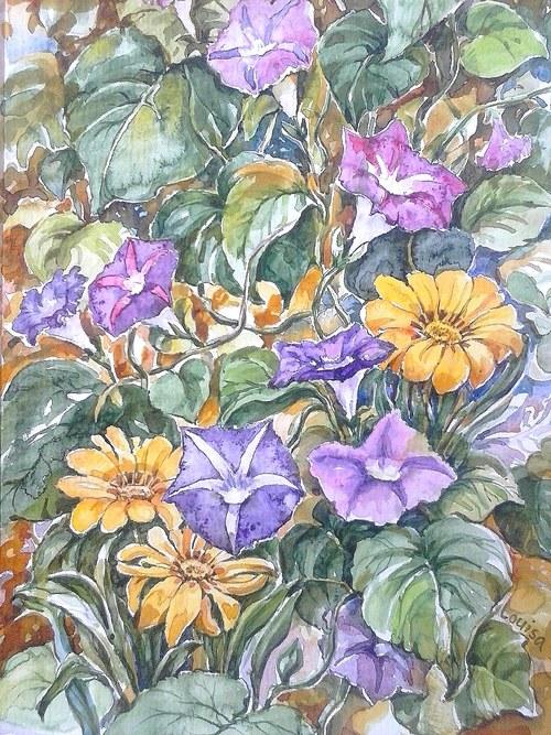 Letní květiny - akvarel 30x40cm