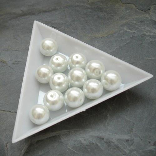 Skleněné voskované kuliček 10mm - 12 ks - bílé