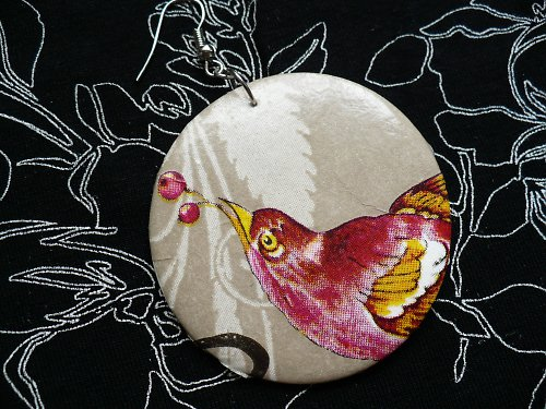 náušnice Pták Ohnivák - sleva