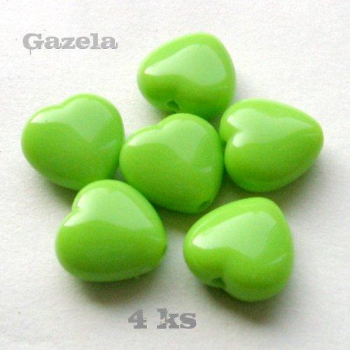 Srdíčka světle zelená - 4 ks
