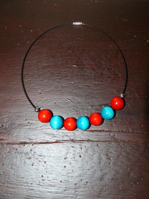 Dřevěné korálky, náhrdelník