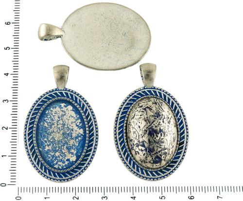 2ks českých Modrá Patina Antique Silver Tón Velký