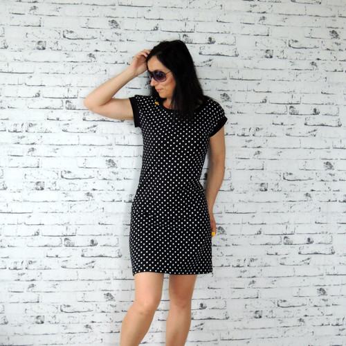 Černobílé puntíkaté šaty...M