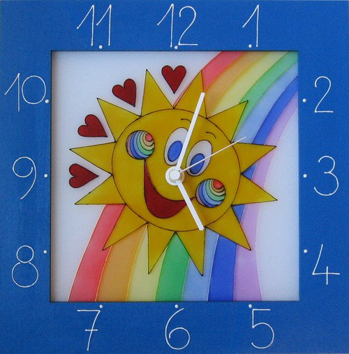 Sluníčko *Cestou duhy - hodiny v rámu 34cm